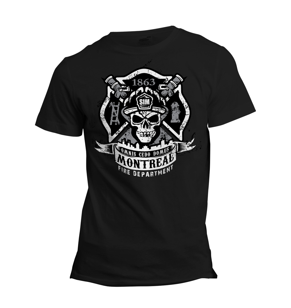 Montreal fire department station 55 simfd print design for Fire department tee shirt designs