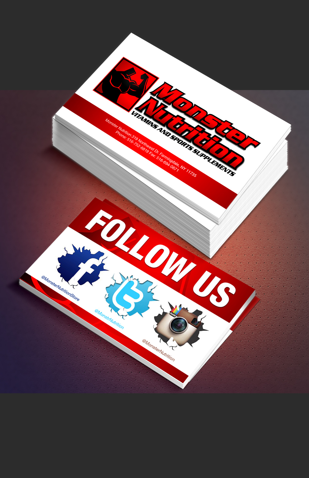 Business card advertising our social media pages print design ...