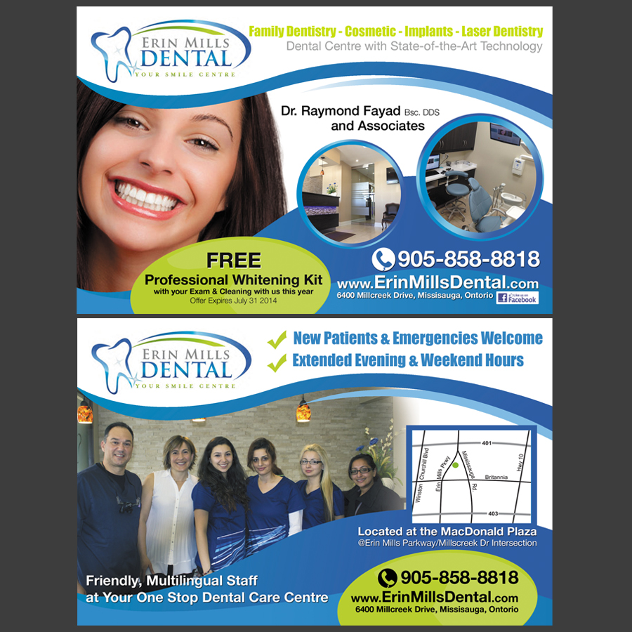 Erin Mills Dental flyer print design - 48HoursLogo.com