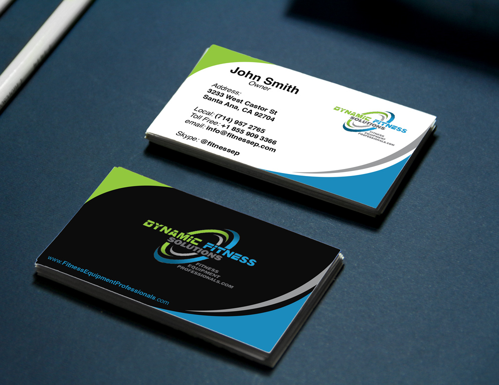 Business Card Template For Dynamic Fitness Solutions Print Design - Fitness business card template