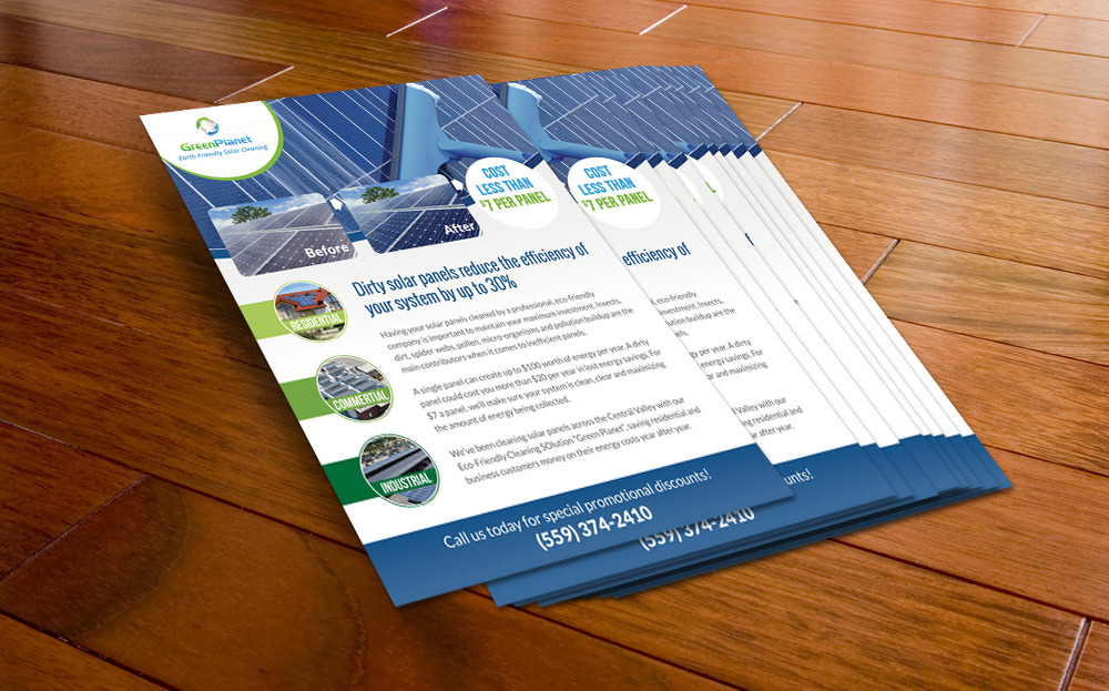 flyer for green planet  solar panel cleaning company