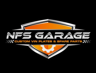 nfs garage - custom vin plates & spare parts logo design