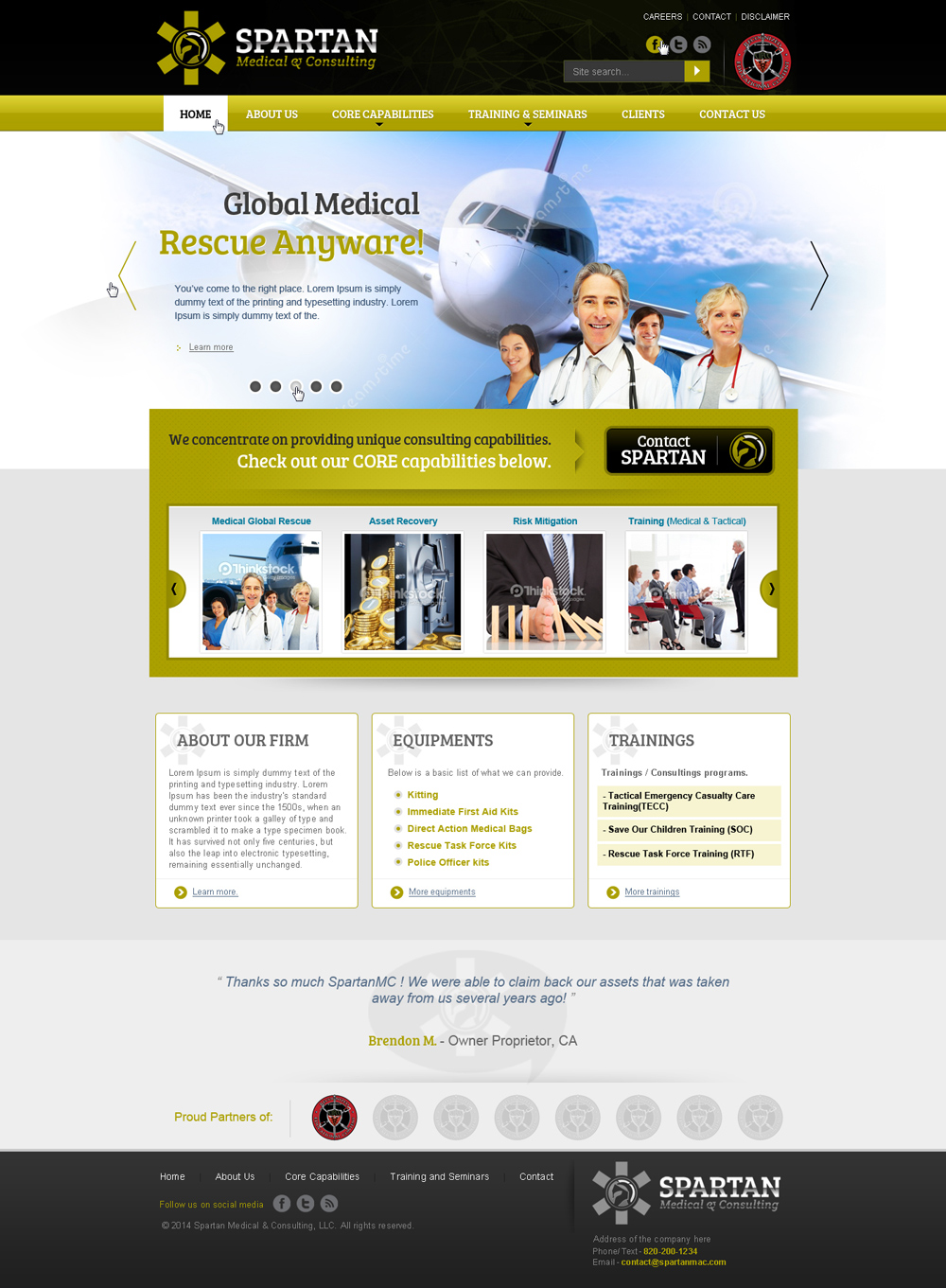 www.spartanmac.com, Spartan Medical and Consulting LLC webpage logo design