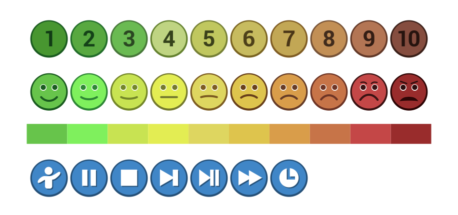 A coloured set of happy/sad icons and 0-9 number icons logo design