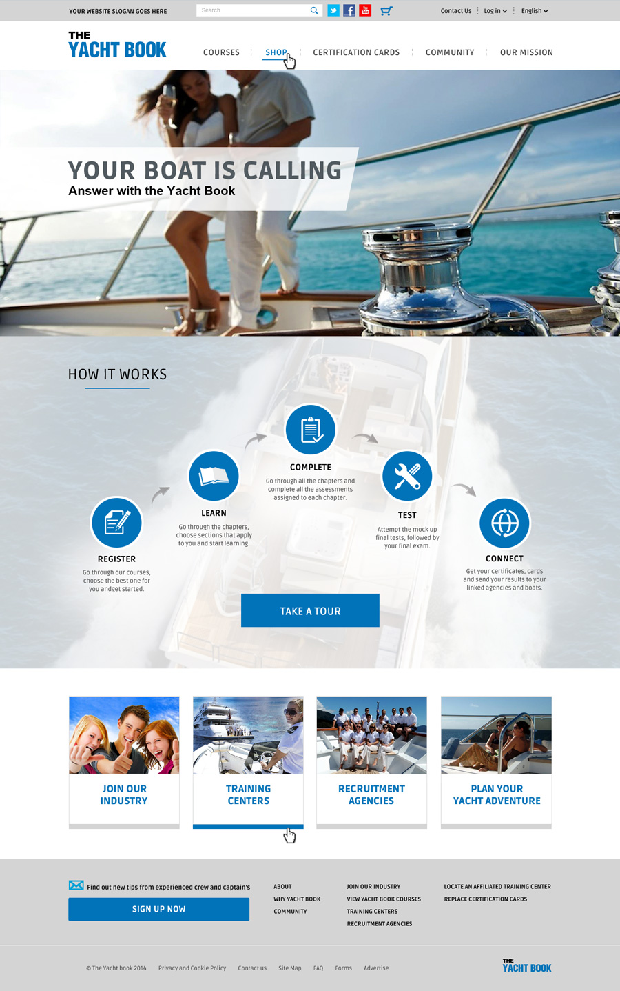 The Yacht Book landing page layout logo design