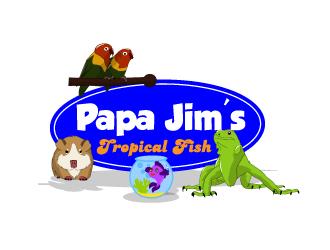 Papa jims tropical fish logo design for Jims exotic fish
