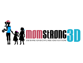 Mom Strong 3D logo design