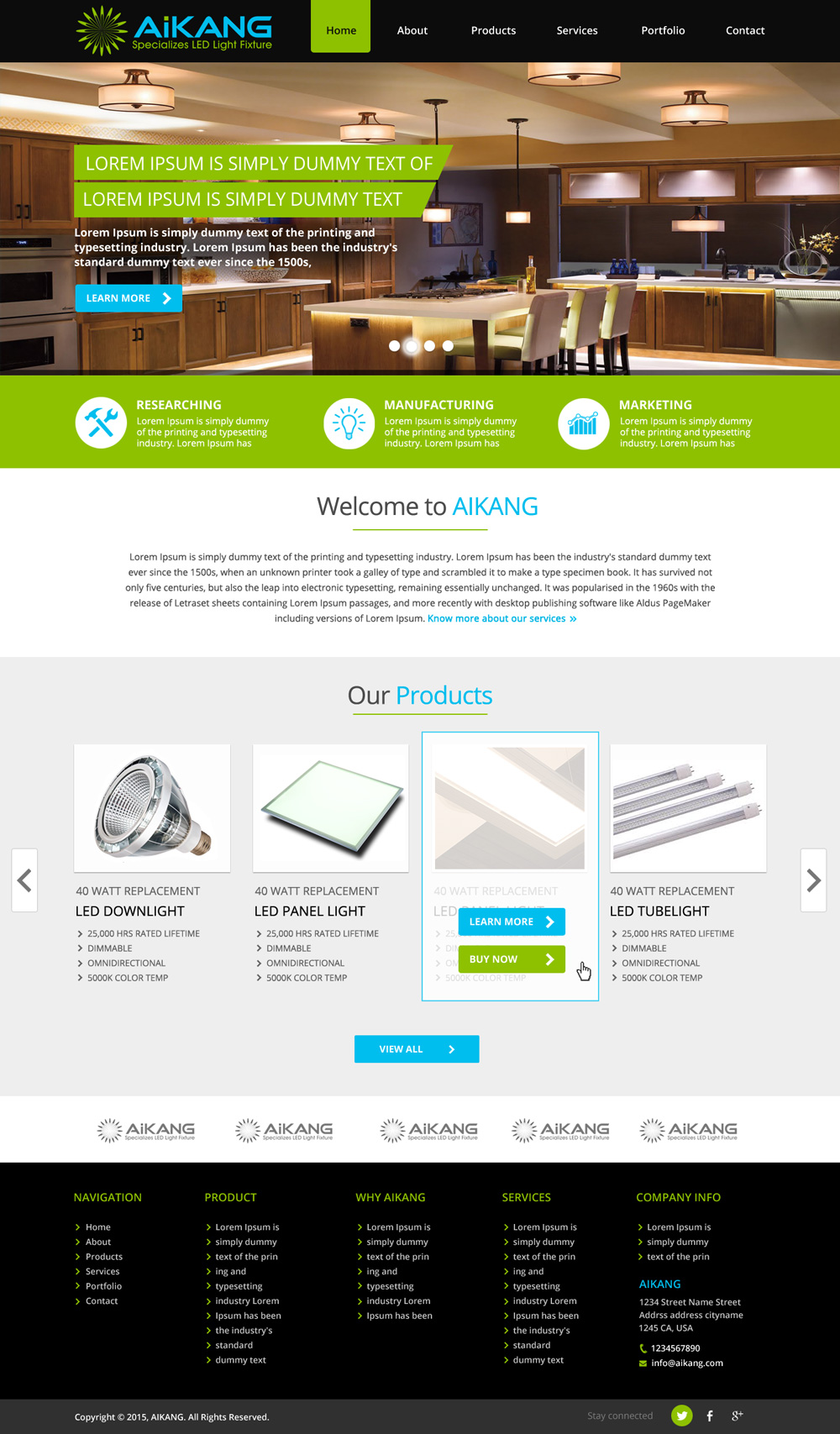 led lighting company web page design web design