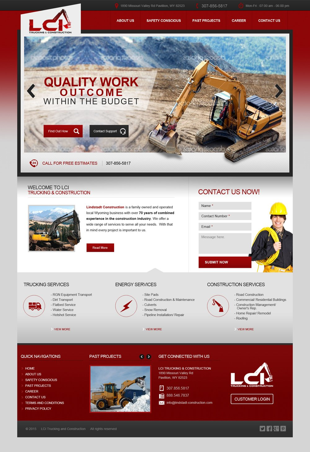 Update current website LCI Trucking & Construction logo design