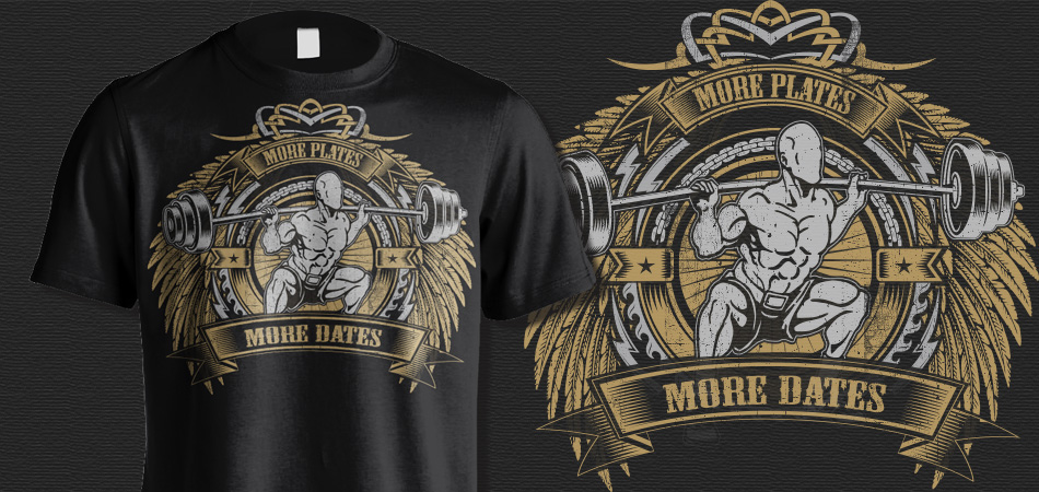 More Plates, More dates t-shirt for gym logo design
