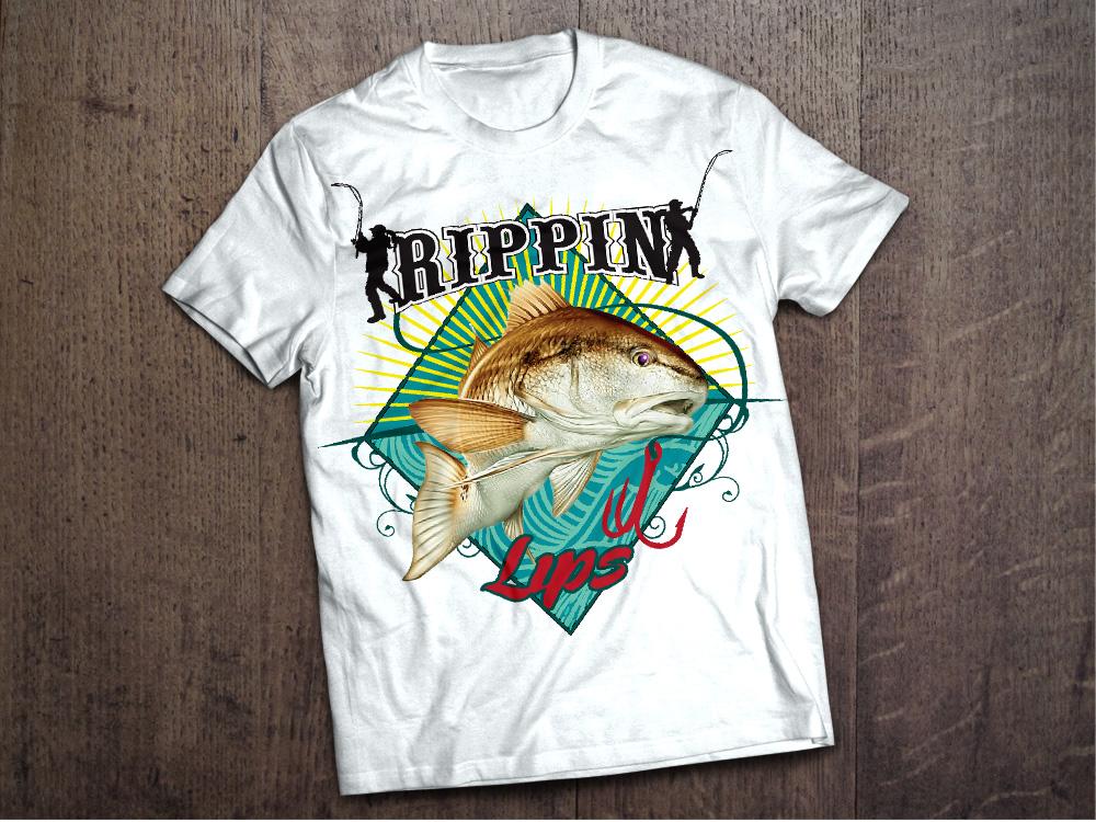 Rippin Lips redfish design tshirt logo design