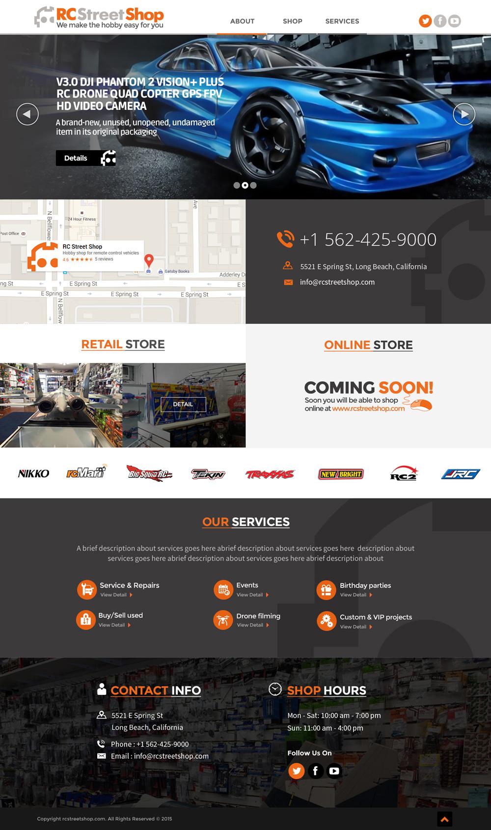 RC Street Shop landing page design logo design