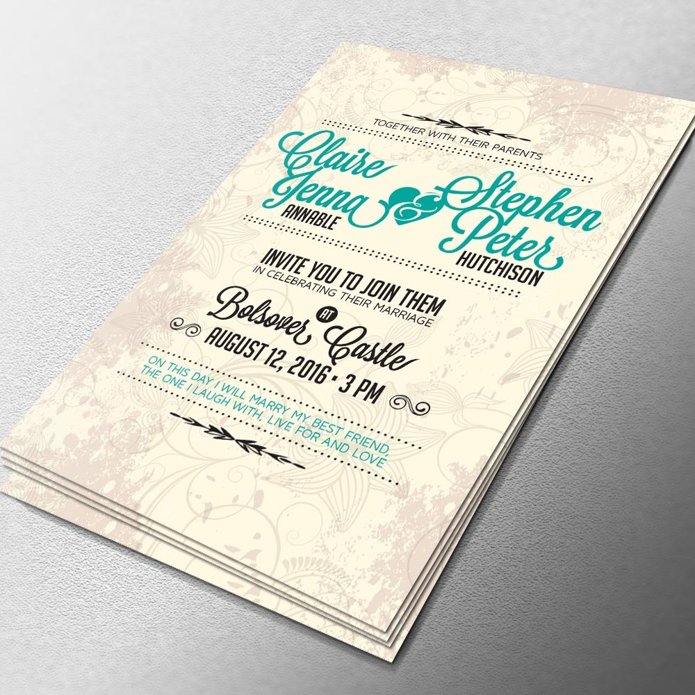 Wedding Invitation A5 logo design