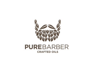 pure barber - crafted oils logo design