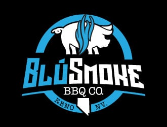 BlúSmoke BBQ Co. logo design