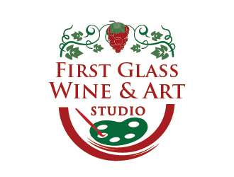 First Glass Wine Art Studio logo design