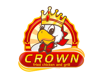 crown fried chicken and grill logo design