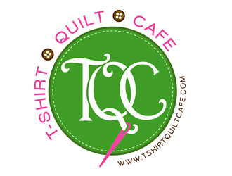 TQC (inside a monogram) with T-shirt Quilt Cafe in a banner somewhere above or below logo design