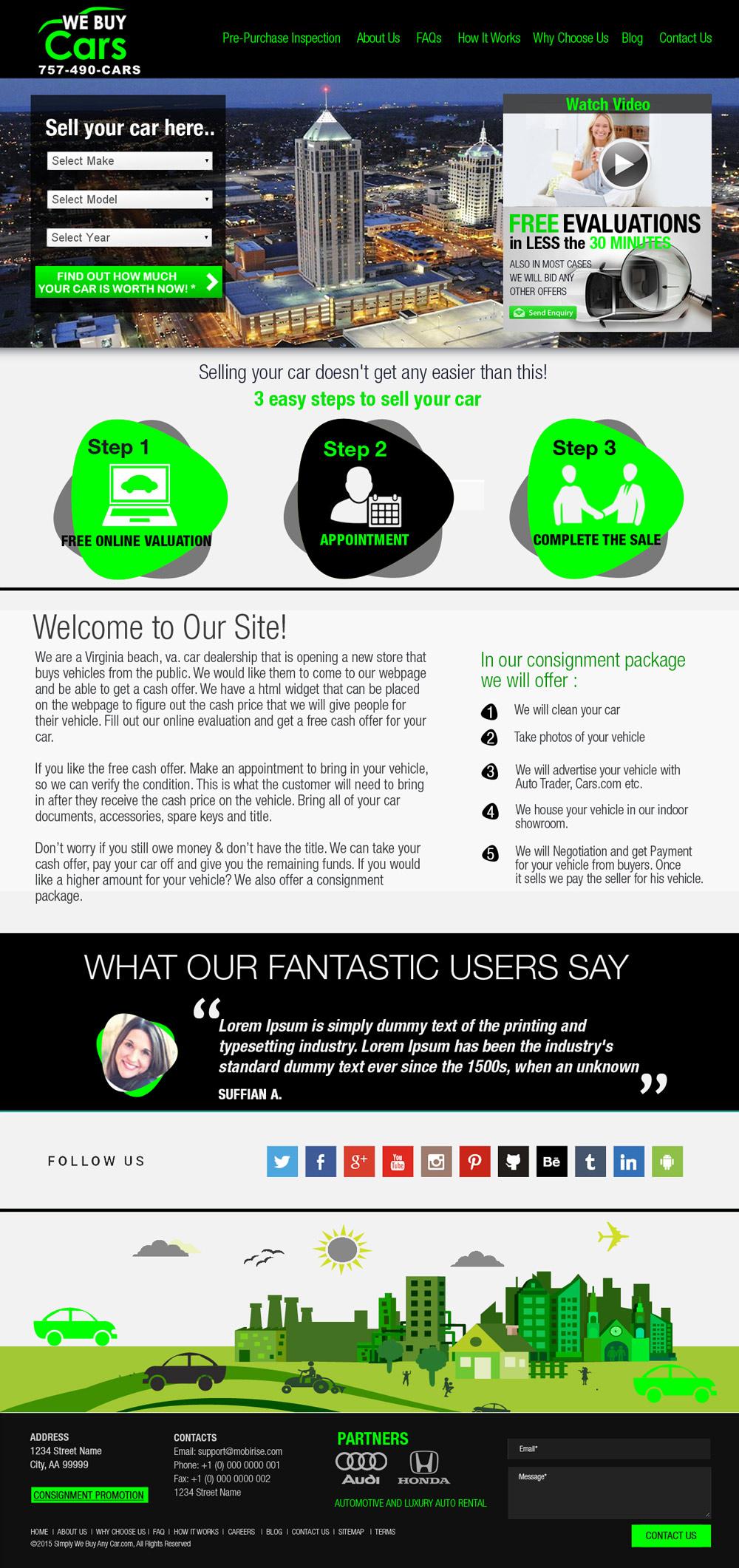 Simply We Buy Any Car.com Web Design