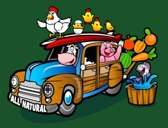 Woody auto wagon with cow driving, pig in backseat, surfboard on top with veggies and chickens, back door open with veggies falling out, chicken around, words ALL NATURAL on side of woody wagon or a beach jalopy of some sort logo design