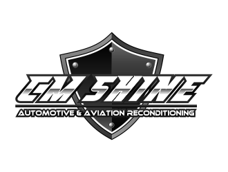 CM SHINE, Automotive and Aviation Reconditioning logo design