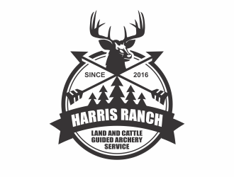 Harris Ranch Land and Cattle Guided Archery Service logo design