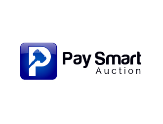 P for the LOGO like Facebook logo - we prefer a blue background and then the name Pay Smart Auction next to the logo logo design