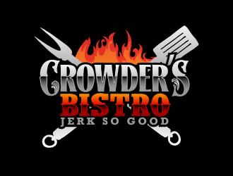 "Name - ""Crowder's Bistro""  Slogan ""Jerk So Good"" logo design"