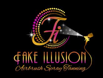 Fake Illusion Airbrush Spray Tanning logo design