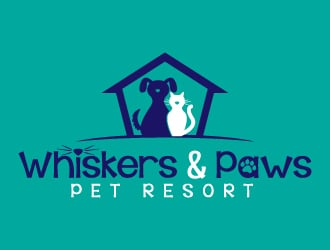 Whiskers & Paws pet resort logo design