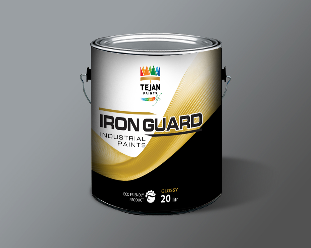 Industrial paint product name iron guard print design for Industrial design packaging