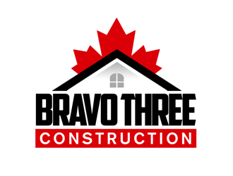 Bravo Three Construction logo design