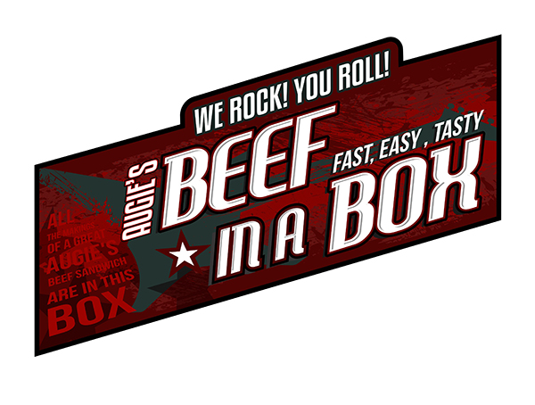 Augustino's Rock and Roll Deli   Beef in a Box/ Beef To Go/ Beef Box logo design