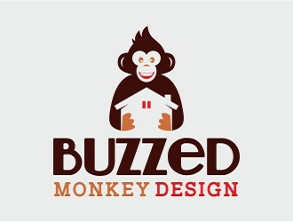 Buzzed monkey design logo design