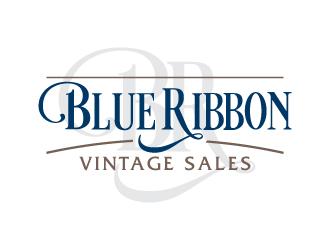 Blue Ribbon Vintage Sales logo design