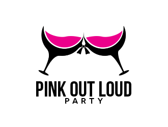 Pink Out Loud Party logo design