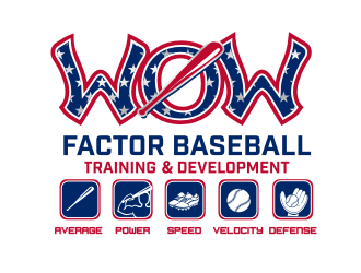 """WOW"" Factor Baseball Training and Development logo design"