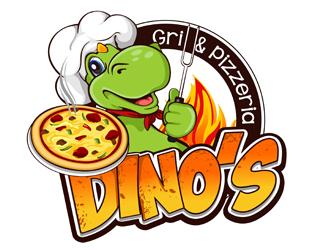 Dino's Grill & Pizzeria logo design