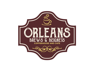 Orleans Brews and Beignets logo design