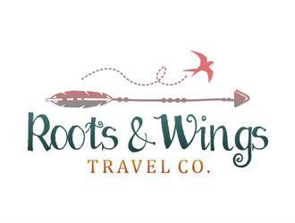 Roots & Wings Travel Co. logo design