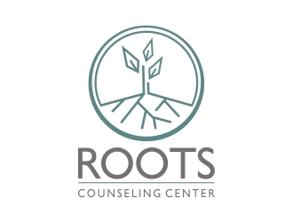 "Roots Counseling Center (""Roots"" in large letters, ""Counseling Center"" in smaller letters below) logo design"