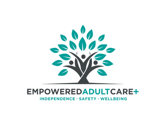 Empowered Adult Care .com  Independence. Safety. Wellbeing. logo design
