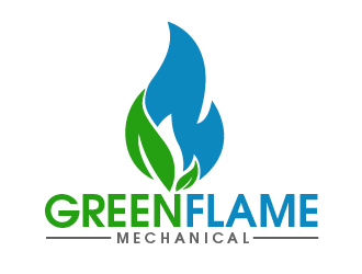 Green flame mechanical logo design