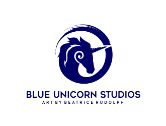 Blue Unicorn Studios - Art by Beatrice Rudolph logo design