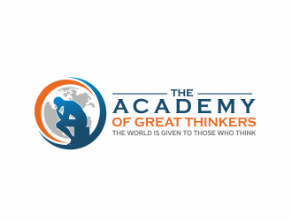 The Academy of Great Thinkers / The World is given to those who think logo design