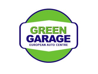 Green garage European auto centre logo design