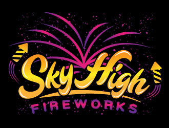 Sky High Fireworks logo design