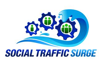 Social Traffic Tsunami logo design