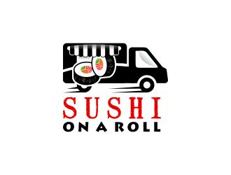 Sushi on a roll  logo design