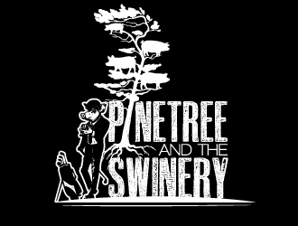 Pinetree Catering  (food) and The Swinery (mobile bar) are partnering up logo design